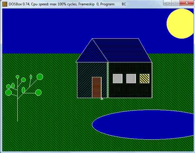 Рисование Дом, дерево, солнце