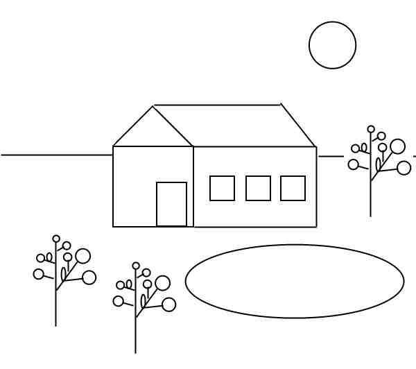 Дом, озеро, солнце, WinApi, C++